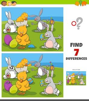 Tarefa de diferenças com personagens de quadrinhos da páscoa