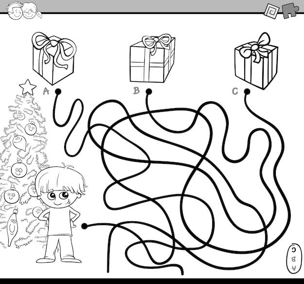 Tarefa de labirinto de caminho para colorir