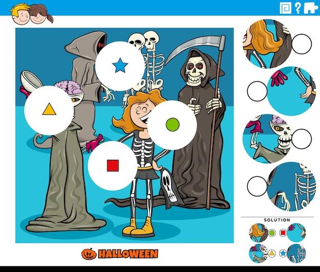 Tarefa de quebra-cabeça de combinar as peças para crianças com personagens de halloween