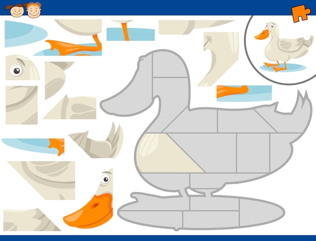 Tarefa de quebra-cabeça de pato dos desenhos animados