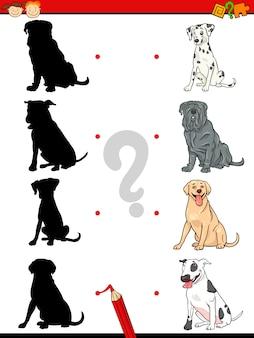 Tarefa de sombra pré-escolar com cães