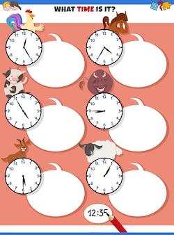Tarefa educacional contando o tempo com animais de fazenda