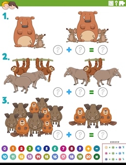 Tarefa educacional de adição de matemática com animais selvagens