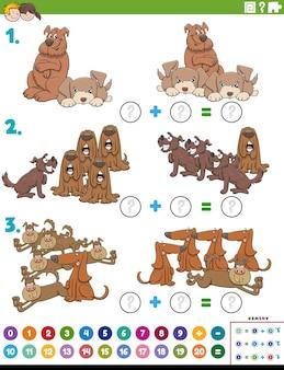 Tarefa educacional de adição matemática com personagens de cães