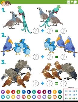 Tarefa educacional de adição matemática com personagens de pássaros