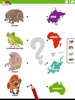 Tarefa educacional de combinar espécies animais e continentes