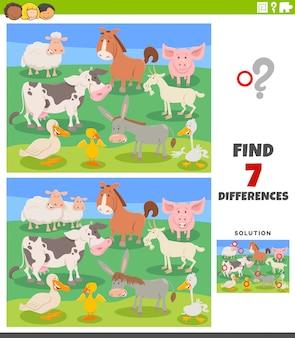 Tarefa educacional de diferenças com animais de fazenda dos desenhos animados