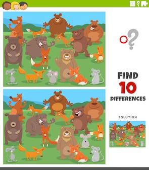 Tarefa educacional de diferenças com animais selvagens dos desenhos animados