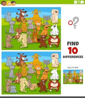 Tarefa educacional de diferenças com cães e gatos em quadrinhos