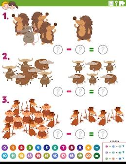 Tarefa educacional de subtração matemática com animais