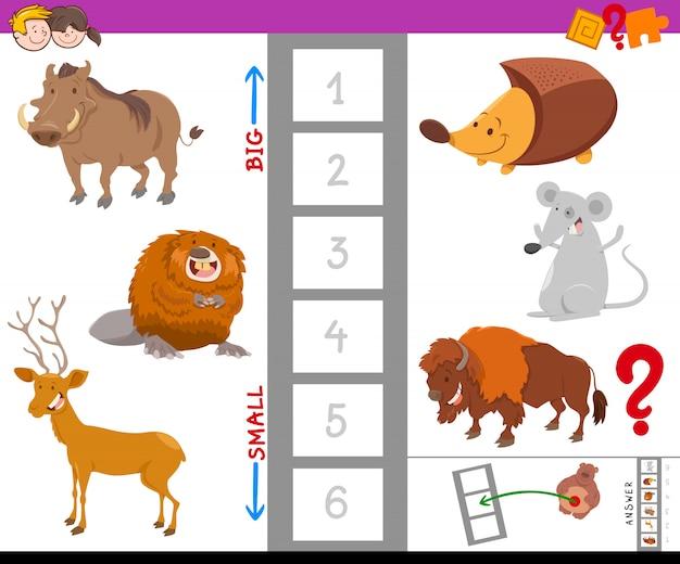 Tarefa educativa com animais grandes e pequenos
