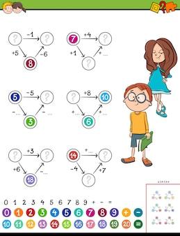 Tarefa educativa de cálculo de matemática para crianças