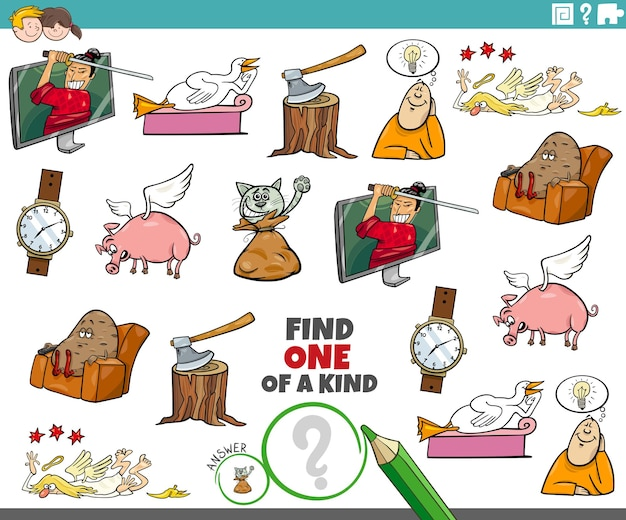 Tarefa única com personagens de desenhos animados e objetos