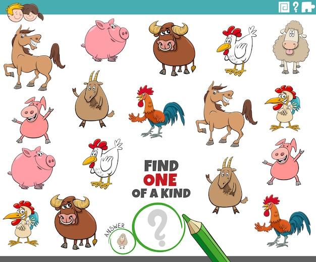 Tarefa única para crianças com animais de fazenda