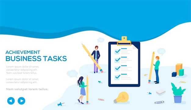 Tarefas de negócios de conceito. antecedentes com a implementação de tarefas atribuídas no negócio.