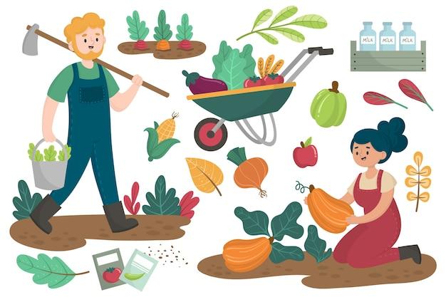 Tarefas diárias do conceito de agricultura orgânica