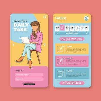 Tarefas diárias no aplicativo móvel de gerenciamento de tarefas