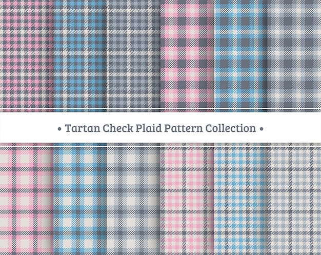 Tartan check plaid seamless pattern set