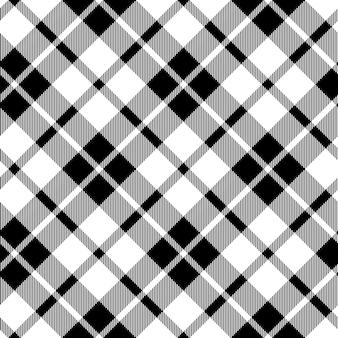 Tartan da cornualha diagonal tecido textura preto e branco sem costura padrão