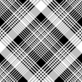 Tartan xadrez preto branco tecido textura sem costura padrão