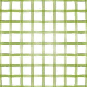 Tartan xadrez verde aquarela simples padrão sem emenda