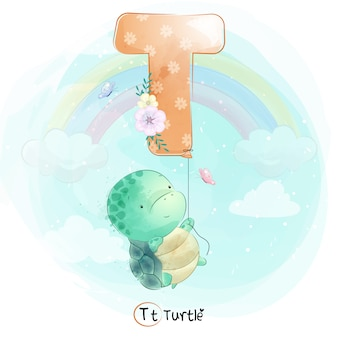 Tartaruga bonita voando com balão alfabeto-t