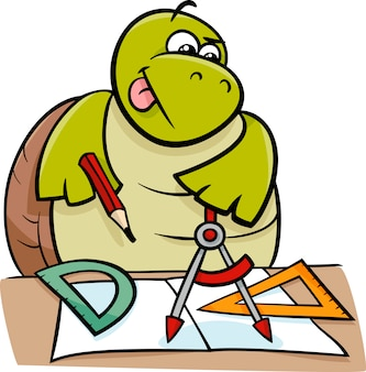 Tartaruga com calipers cartoon illustration