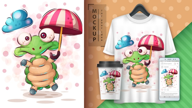 Tartaruga com poster de guarda-chuva e merchandising