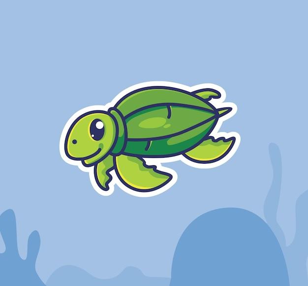 Tartaruga de couro bonito nadando debaixo d'água. conceito da natureza animal dos desenhos animados ilustração isolada. estilo simples adequado para vetor de logotipo premium de design de ícone de etiqueta. personagem mascote