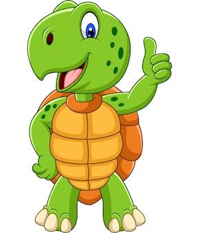Tartaruga de desenho animado dando um polegar para cima