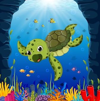Tartaruga de desenhos animados debaixo d'água