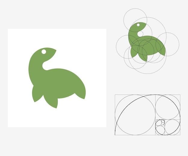Tartaruga de vetor no estilo de proporção áurea. ilustração editável