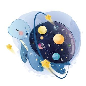 Tartaruga fofa com um vidro de galáxia nas costas