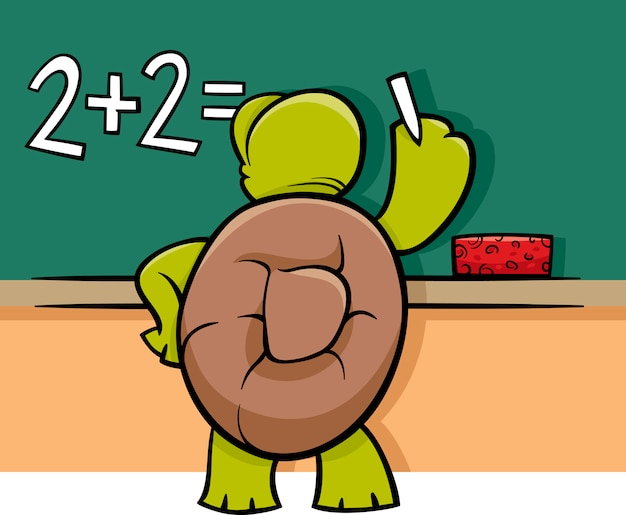 Tartaruga na ilustração dos desenhos animados do quadro-negro
