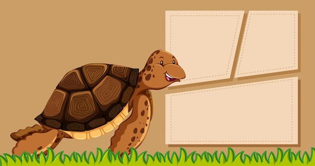 Tartaruga no modelo de nota
