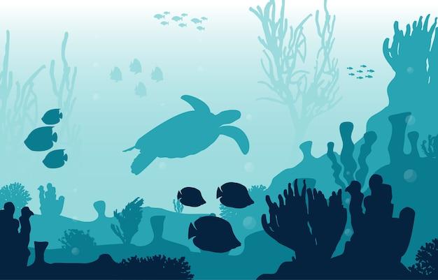 Tartaruga peixe animais marinhos recife coral mar subaquático oceano ilustração