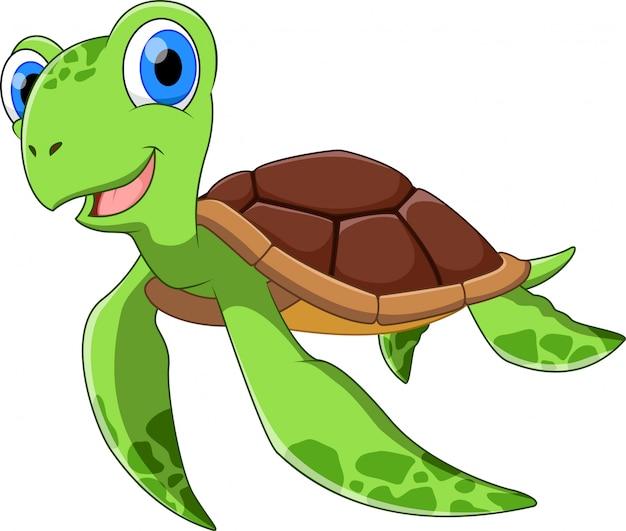 Tartaruga pequena bonito dos desenhos animados natação