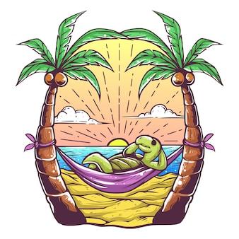 Tartarugas apreciam o pôr do sol na praia premium