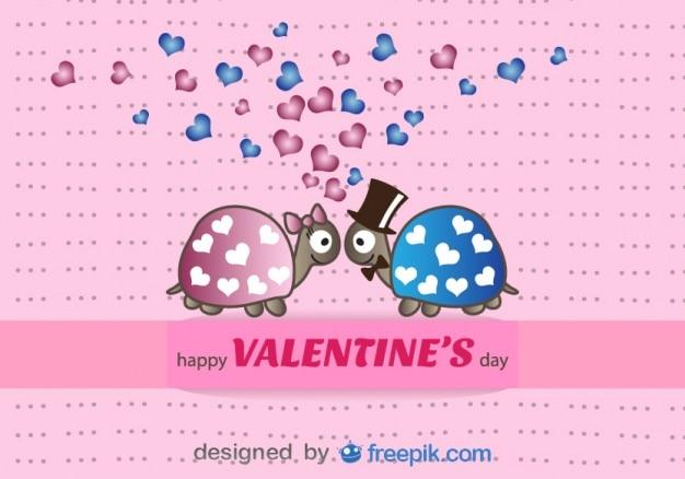 Tartarugas em desenhos animados do amor cartão do vetor
