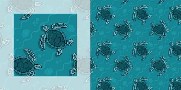 Tartarugas marinhas em padrão sem emenda de verão