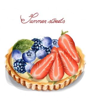 Tartlet de frutas em aquarela