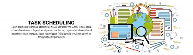 Task scheduling web banner template conceito de gerenciamento de tempo de planejamento de negócios