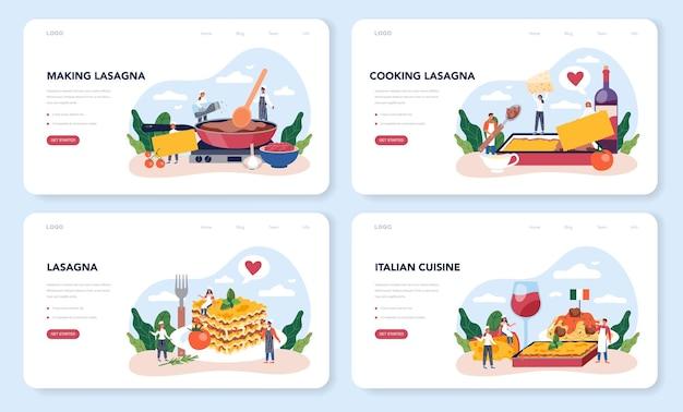 Tasty lasagna landing page set