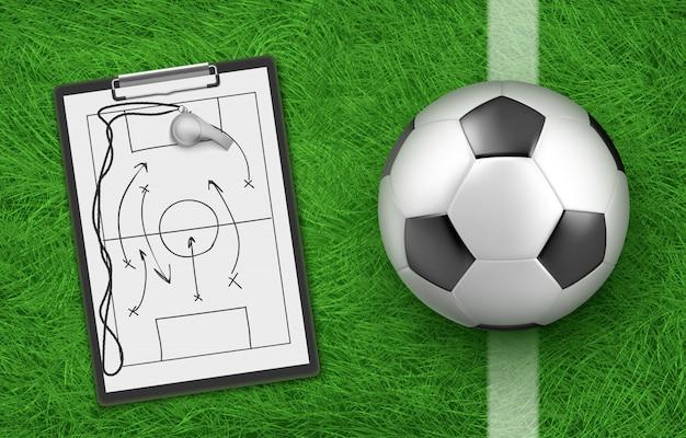 Táticas e bola de futebol