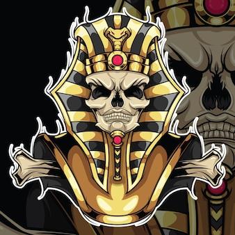 Tattoo design skull pharaoh., conceito de design tattoo.