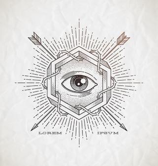 Tatuagem abstrata estilo emblema de arte de linha com forma impossível e símbolos - ilustração