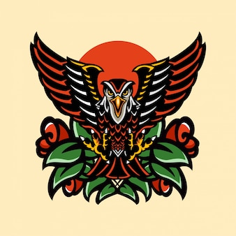 Tatuagem animais águia falcão e rosa vintage artístico