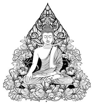 Tatuagem arte buddha thai design na mão de lótus, desenho e esboço