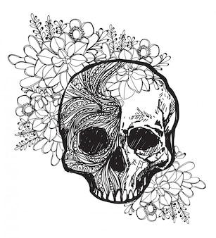Tatuagem, arte, cranio, e, flor, mão, desenho, e, esboço, preto branco