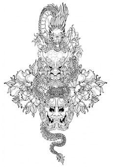 Tatuagem arte dargon mão desenho e desenho preto e branco